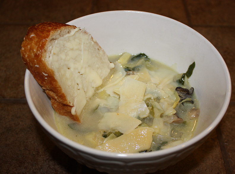 Homeade Oyster and Artichoke Heart Soup